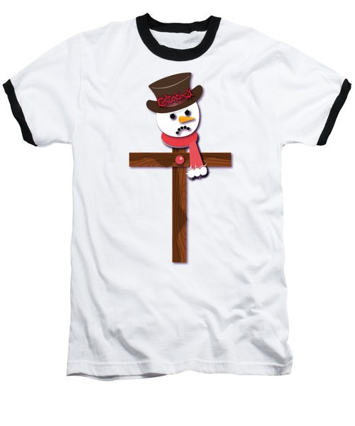 Snowman Christian Cross Baseball T-Shirt by Reggie Hart
