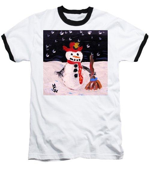 Snowman Under The Stars Baseball T-Shirt by Mary Carol Williams