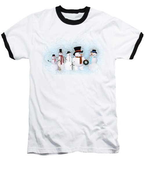Baseball T-Shirt featuring the painting Snowmen by Methune Hively