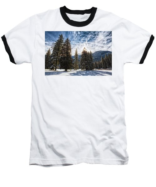 Snowy Clouds Baseball T-Shirt by Charlie Duncan