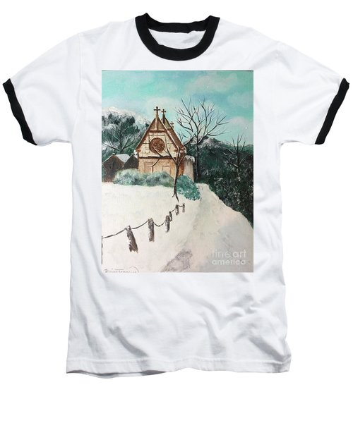 Baseball T-Shirt featuring the painting Snowy Daze by Denise Tomasura