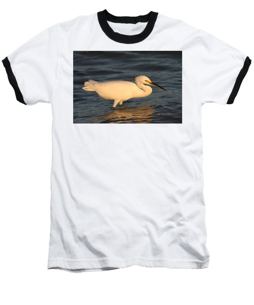 Baseball T-Shirt featuring the photograph Snowy Egret By Sunset by Christiane Schulze Art And Photography