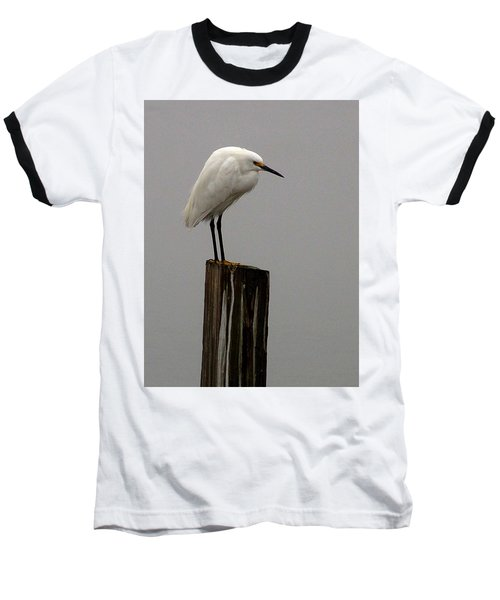 Snowy Egret In The Fog  Baseball T-Shirt