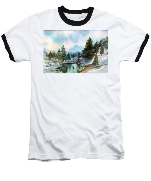 Snowy Lake Reflections Baseball T-Shirt