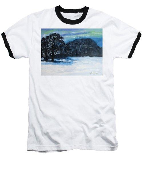 Snowy Moonlight Night Baseball T-Shirt