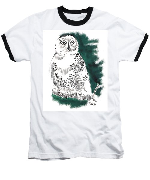 Baseball T-Shirt featuring the drawing Snowy Owl II by Seth Weaver