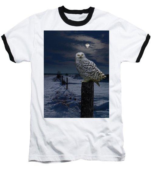 Snowy Owl On A Winter Night Baseball T-Shirt