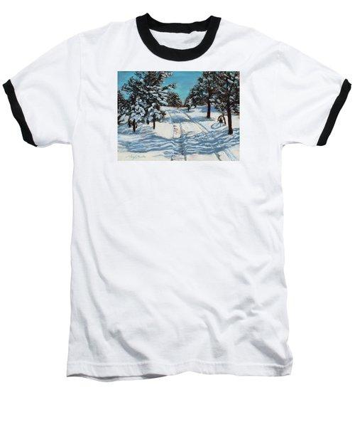 Snowy Road Home Baseball T-Shirt