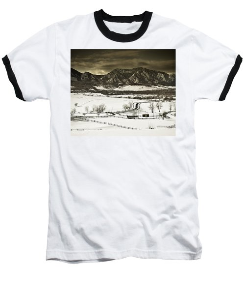 Snowy Sunset Baseball T-Shirt