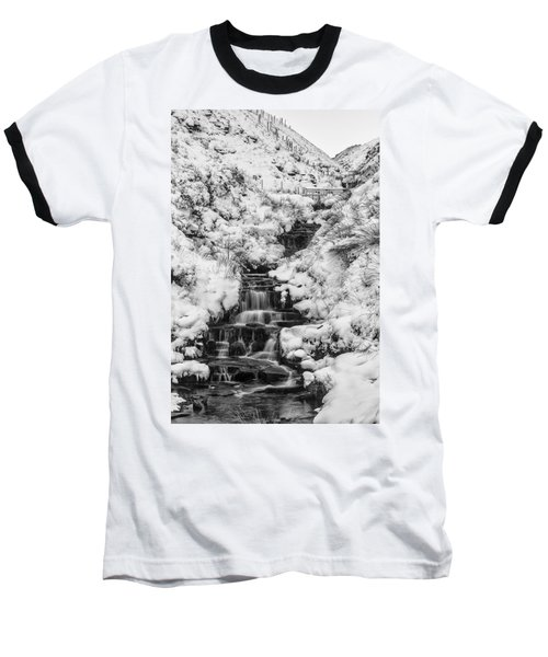 Snowy Waterfall In The Peak District In Derbyshire Baseball T-Shirt