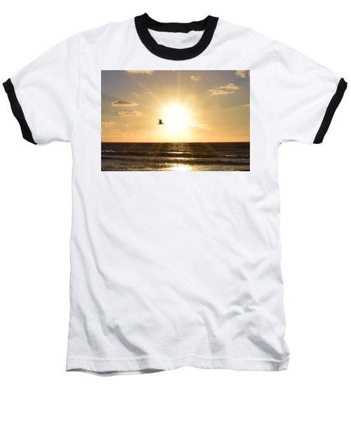 Soaring Seagull Sunset Over Imperial Beach Baseball T-Shirt by Karen J Shine