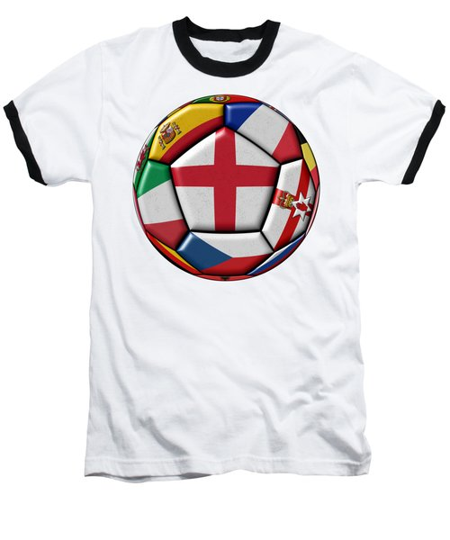Soccer Ball With Flag Of England In The Center Baseball T-Shirt by Michal Boubin