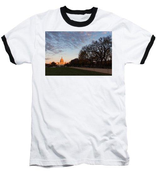 Soft Orange Glow - U S Capitol And The National Mall At Sunset Baseball T-Shirt