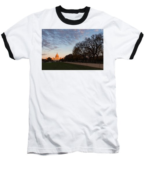 Soft Orange Glow - U S Capitol And The National Mall At Sunset Baseball T-Shirt