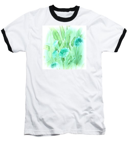 Soft Watercolor Floral Baseball T-Shirt by Judy Palkimas