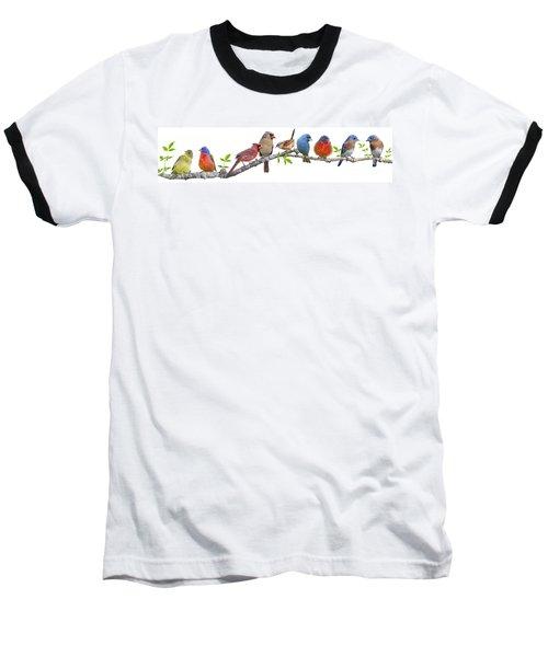 Songbirds On A Leafy Branch Baseball T-Shirt