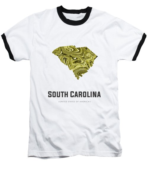 South Carolina Map Art Abstract In Olive Baseball T-Shirt