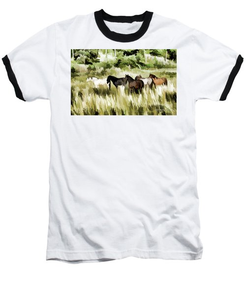 Baseball T-Shirt featuring the mixed media South Dakota Herd Of Horses by Wilma Birdwell