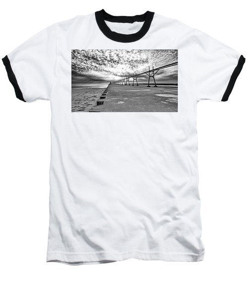 South Haven Pier Wide Angle Baseball T-Shirt