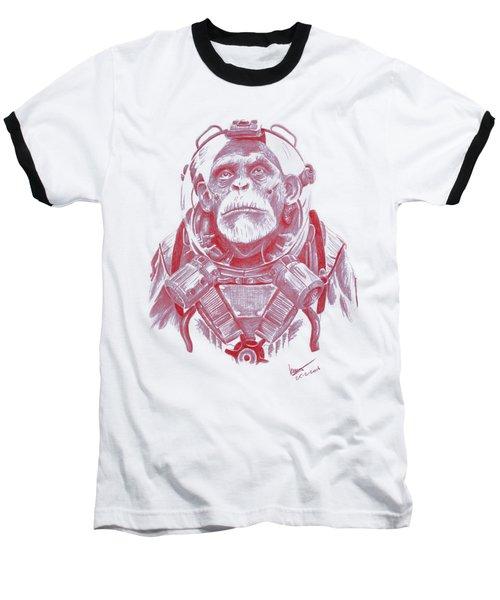 Space Chimp Baseball T-Shirt by Kenny Noorlander