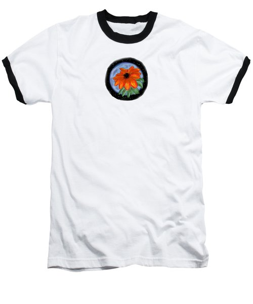 Space Zinnia Baseball T-Shirt by Jean Pacheco Ravinski