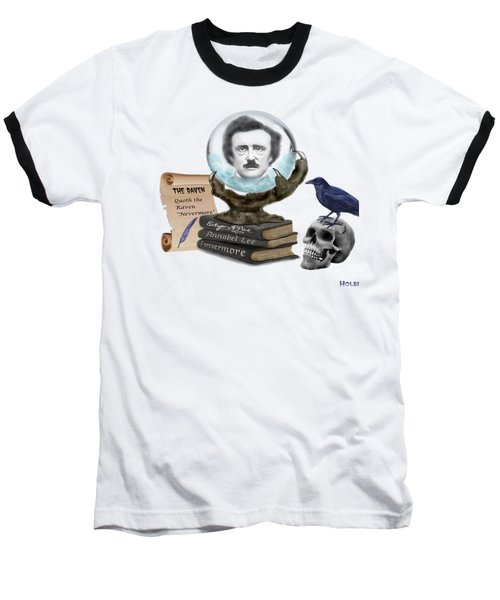 Spirit Of Edgar A. Poe Baseball T-Shirt by Glenn Holbrook