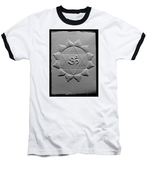Baseball T-Shirt featuring the relief Spiritual Om Yantra by Suhas Tavkar
