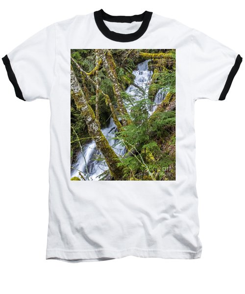 Spring Cascade Baseball T-Shirt by Chuck Flewelling