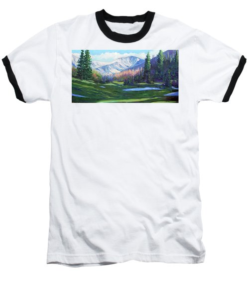 Baseball T-Shirt featuring the painting Spring Colors In The Rockies by Billie Colson
