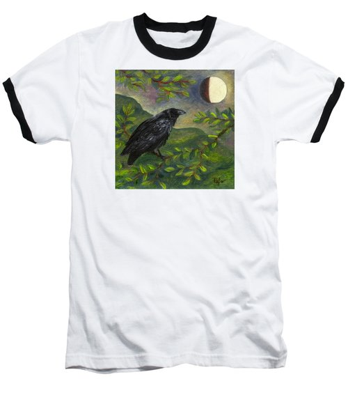 Spring Moon Raven Baseball T-Shirt by FT McKinstry