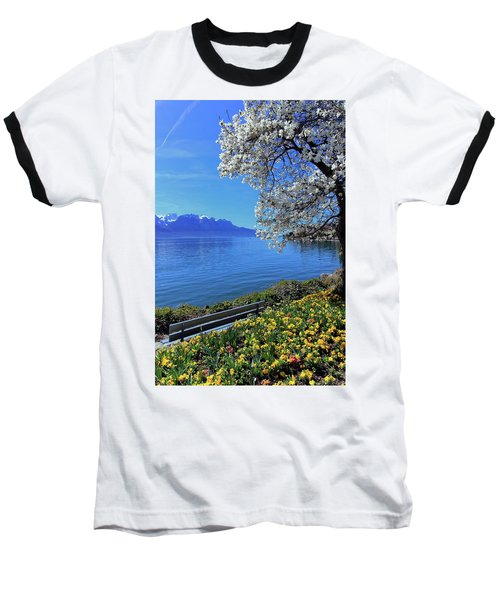Springtime At Geneva Or Leman Lake, Montreux, Switzerland Baseball T-Shirt by Elenarts - Elena Duvernay photo