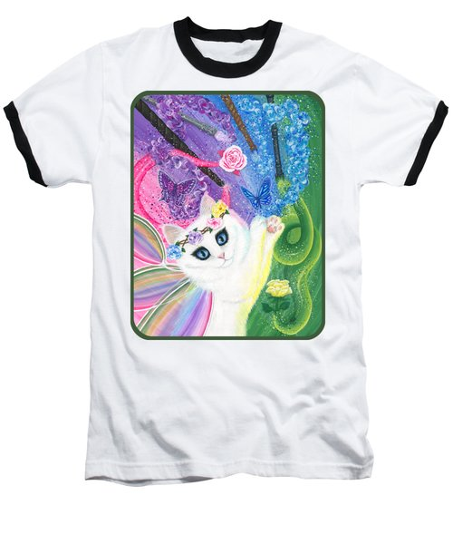 Baseball T-Shirt featuring the painting Springtime Magic - White Fairy Cat by Carrie Hawks