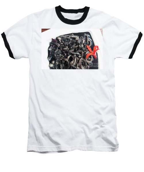 Baseball T-Shirt featuring the photograph Squid In Ink by Atiketta Sangasaeng