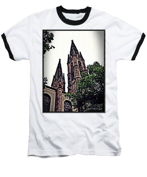 St Boniface Church Towers   Baseball T-Shirt by Sarah Loft