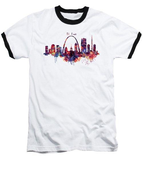 St Louis Skyline Baseball T-Shirt by Marian Voicu