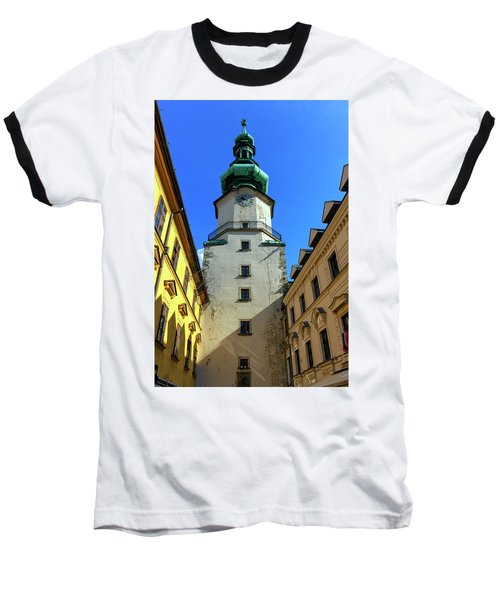 St Michael's Tower In The Old City, Bratislava, Slovakia, Europe Baseball T-Shirt by Elenarts - Elena Duvernay photo