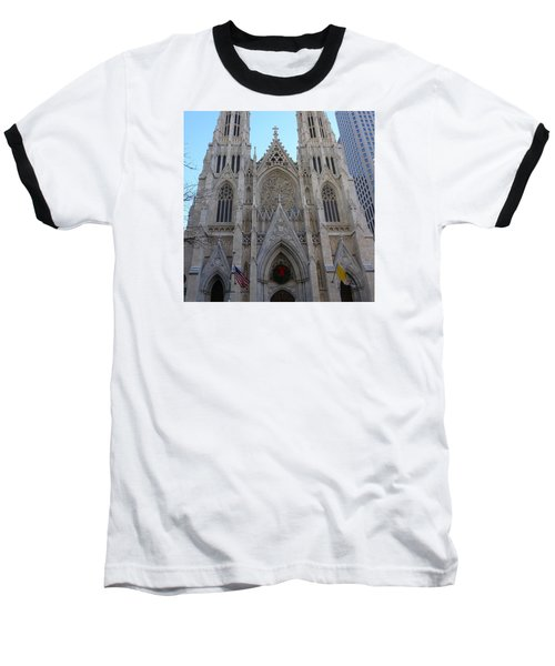 Baseball T-Shirt featuring the photograph St Patrick's Cathedral, Nyc by Melinda Saminski