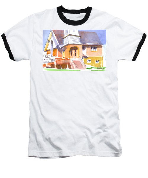 Baseball T-Shirt featuring the painting St. Paul Lutheran Ironton Missouri by Kip DeVore