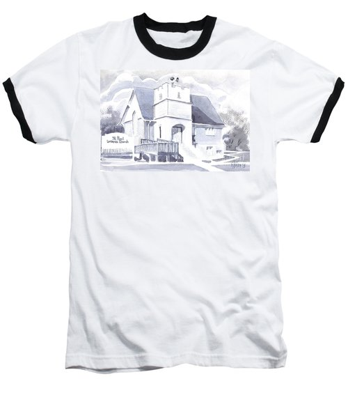 Baseball T-Shirt featuring the painting St. Paul Lutheran Church 2 by Kip DeVore