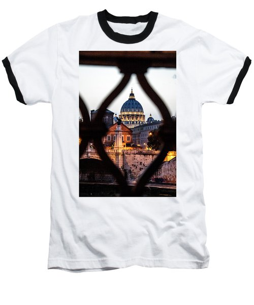 Baseball T-Shirt featuring the photograph St. Peter's Basilica From The St. Angelo Bridge by Jean Haynes