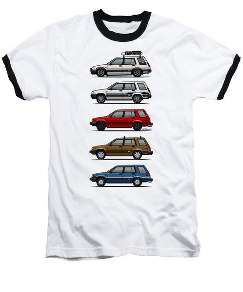 Stack Of Toyota Tercel Sr5 4wd Al25 Wagons Baseball T-Shirt by Monkey Crisis On Mars