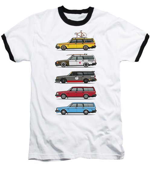 Stack Of Volvo 200 Series 245 Wagons Baseball T-Shirt by Monkey Crisis On Mars