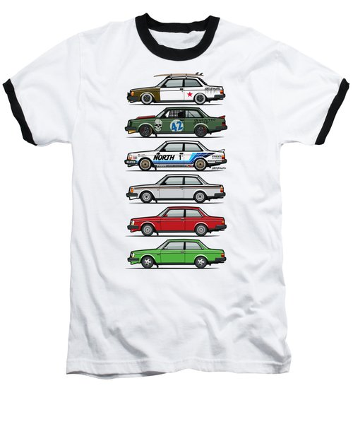 Stack Of Volvo 242 240 Series Brick Coupes Baseball T-Shirt by Monkey Crisis On Mars
