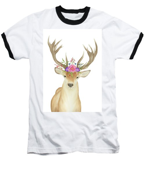 Stag Watercolor  Baseball T-Shirt by Taylan Apukovska