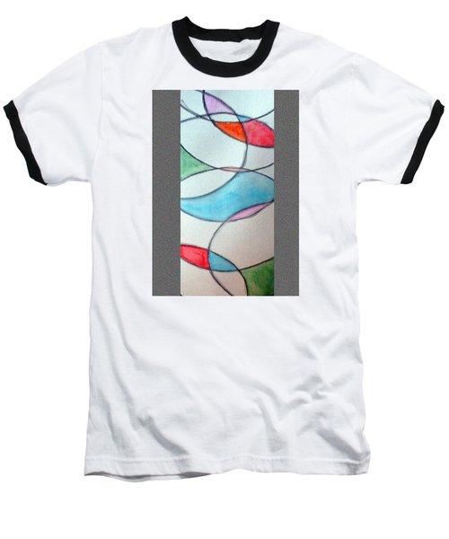 Stain Glass Baseball T-Shirt by Loretta Nash