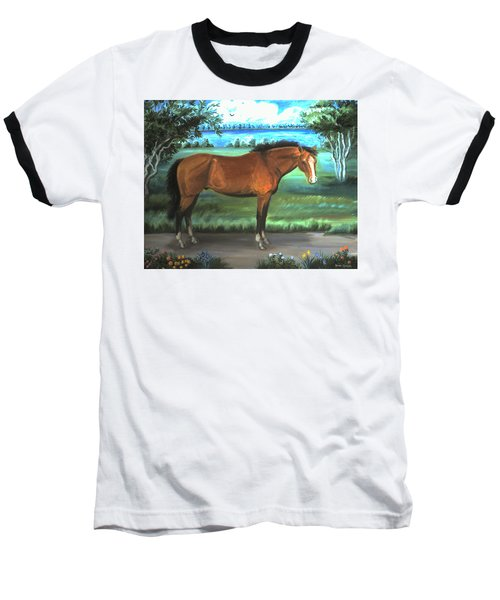 Baseball T-Shirt featuring the painting Stallion Portrait by Dawn Senior-Trask