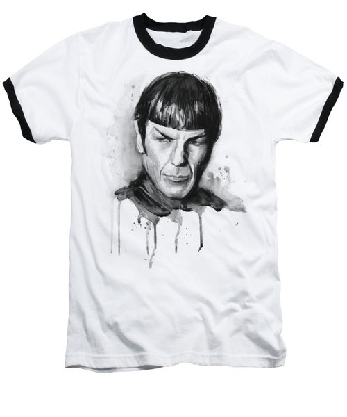 Star Trek Spock Portrait Sci-fi Art Baseball T-Shirt by Olga Shvartsur