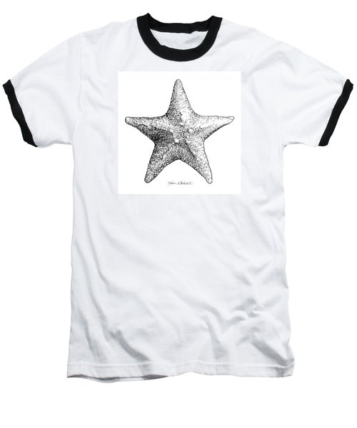 Baseball T-Shirt featuring the drawing Starfish Drawing Black And White Sea Star by Karen Whitworth