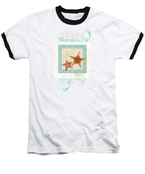 Baseball T-Shirt featuring the painting Starfish Greek Key Pattern W Swirls by Audrey Jeanne Roberts