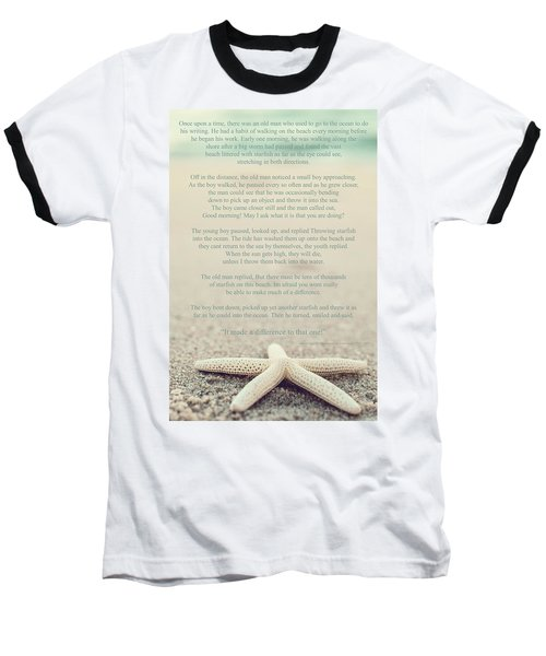 Starfish Make A Difference Vintage Set 1 Baseball T-Shirt by Terry DeLuco